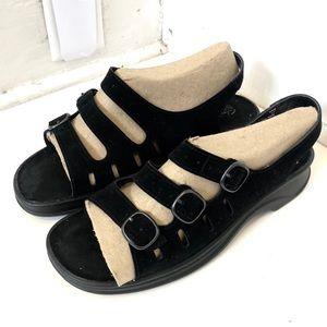 Clark's Black Nubuck Sunbeat Sandals